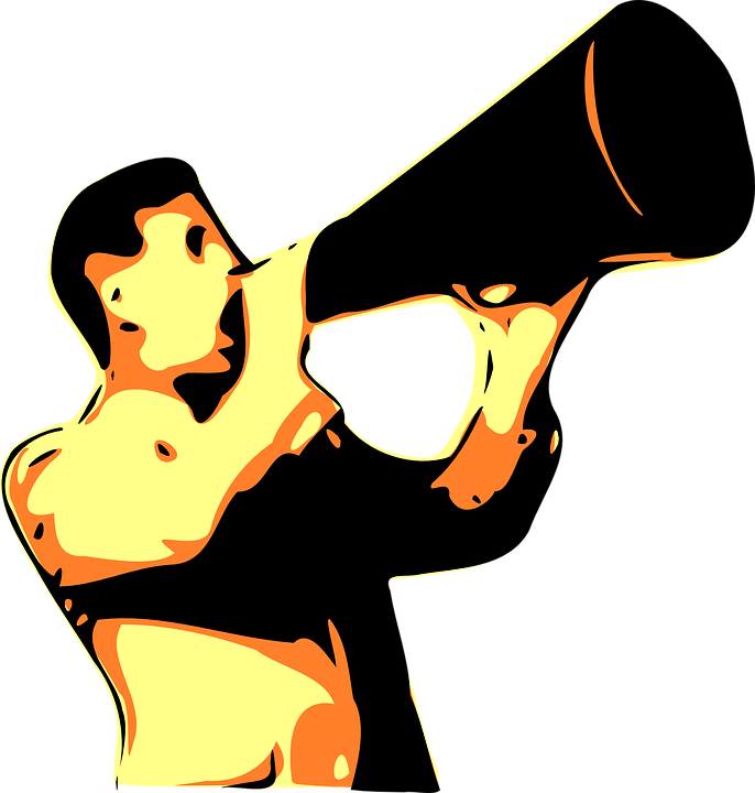 man with megaphone illustration