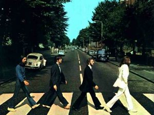 The Beetles crossing abbey road