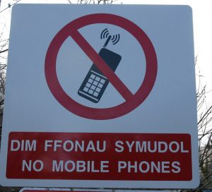 no mobile phones in welsh and english